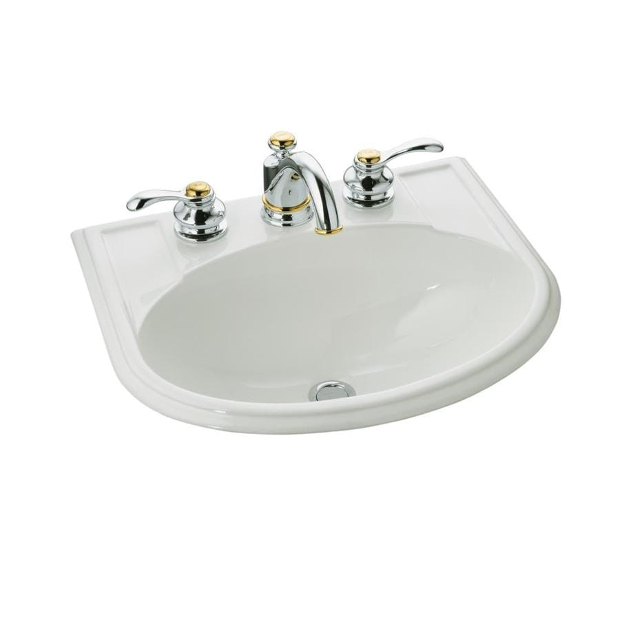 oval bathroom sinks drop in shop kohler devonshire biscuit drop in oval bathroom sink 23895