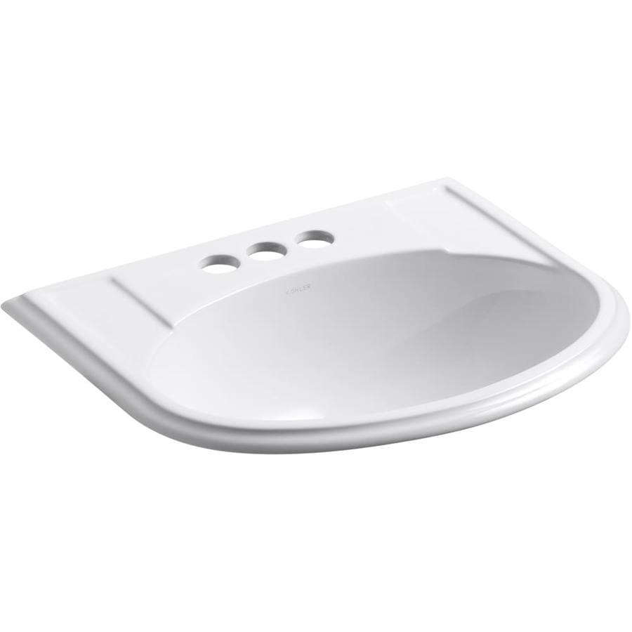 Shop KOHLER Devonshire White Drop-in Oval Bathroom Sink with ... on bathroom sink with water, bathroom sinks kohler toilet colors, bathroom vanity wall mirror, bathroom fixtures by kohler, bathroom drop in sink closeout,