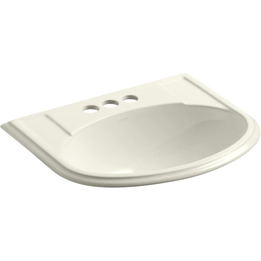 KOHLER Devonshire Biscuit Drop-in Oval Bathroom Sink with Overflow