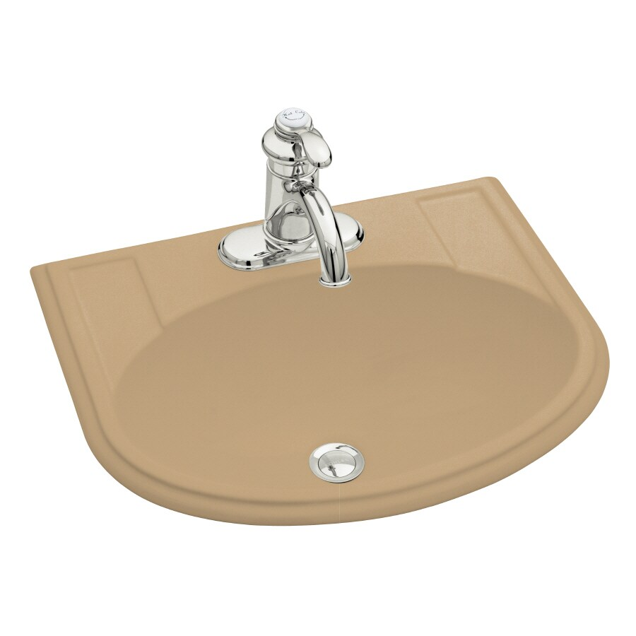 KOHLER Devonshire Mexican Sand Drop-in Oval Bathroom Sink with Overflow
