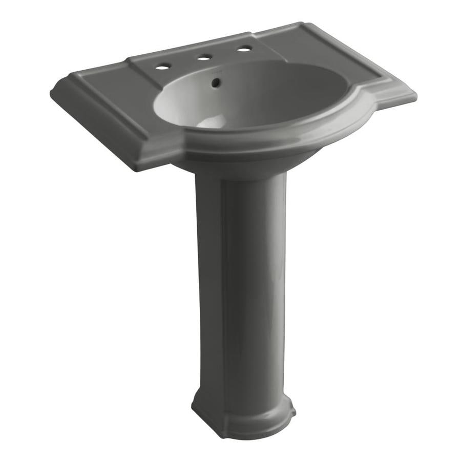 KOHLER Devonshire 33.5-in H Thunder Grey Vitreous China Pedestal Sink