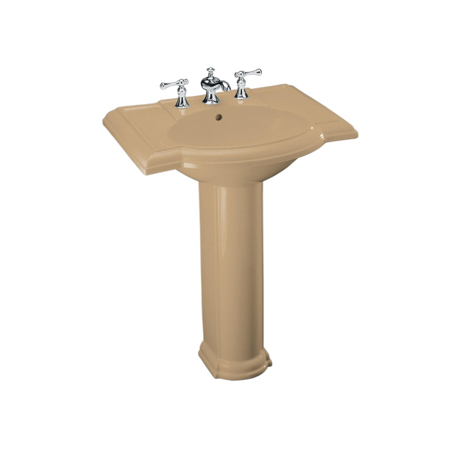 KOHLER Devonshire 33.5-in H Mexican Sand Vitreous China Pedestal Sink