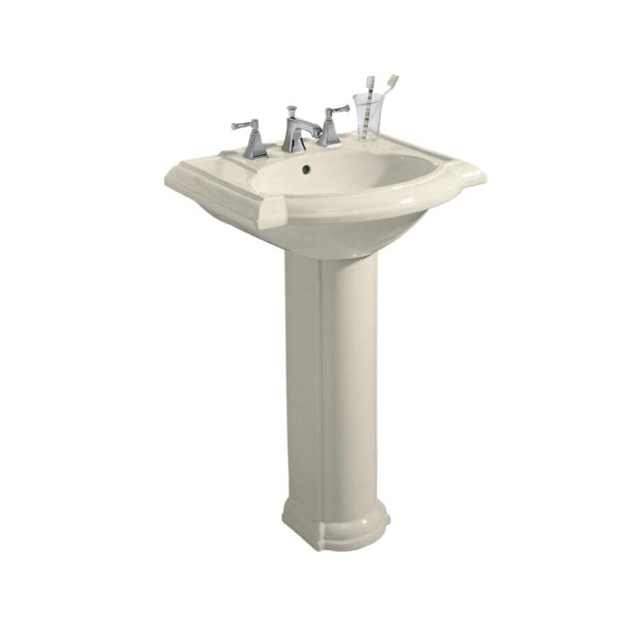 KOHLER Devonshire 33.5-in H Almond Vitreous China Pedestal Sink