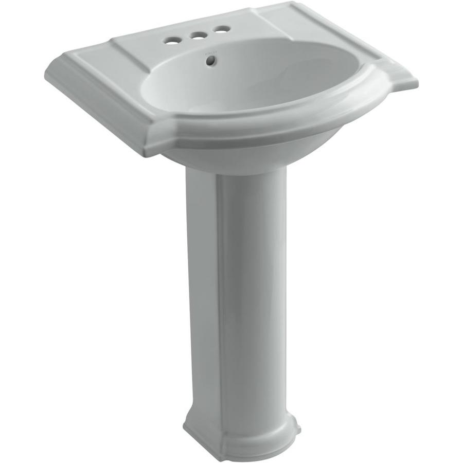 KOHLER Devonshire 33.5-in H Ice Grey Vitreous China Pedestal Sink