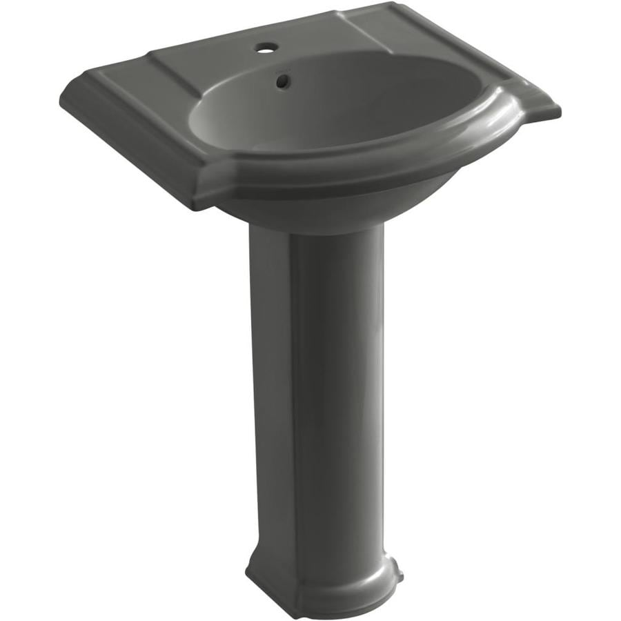 KOHLER Devonshire 33.5-in H Thunder Grey Vitreous China Pedestal Sink