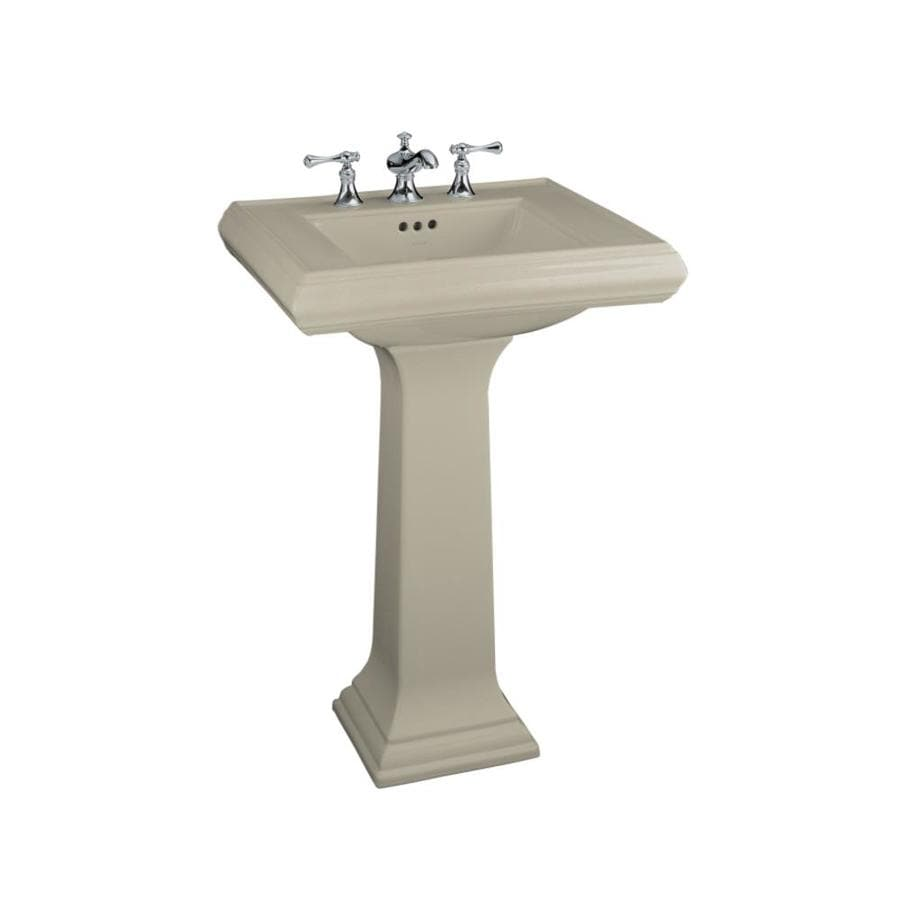 KOHLER Memoirs 34.38-in H Sandbar Fire Clay Pedestal Sink