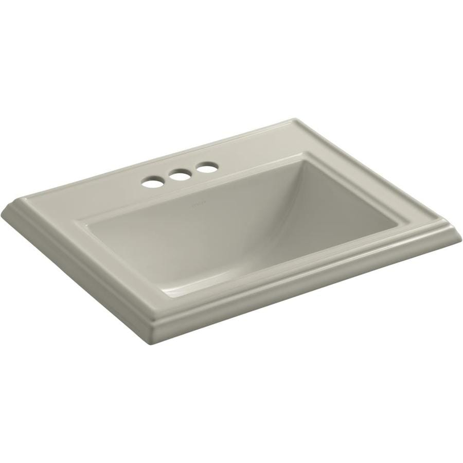 KOHLER Memoirs Sandbar Drop-in Rectangular Bathroom Sink with Overflow