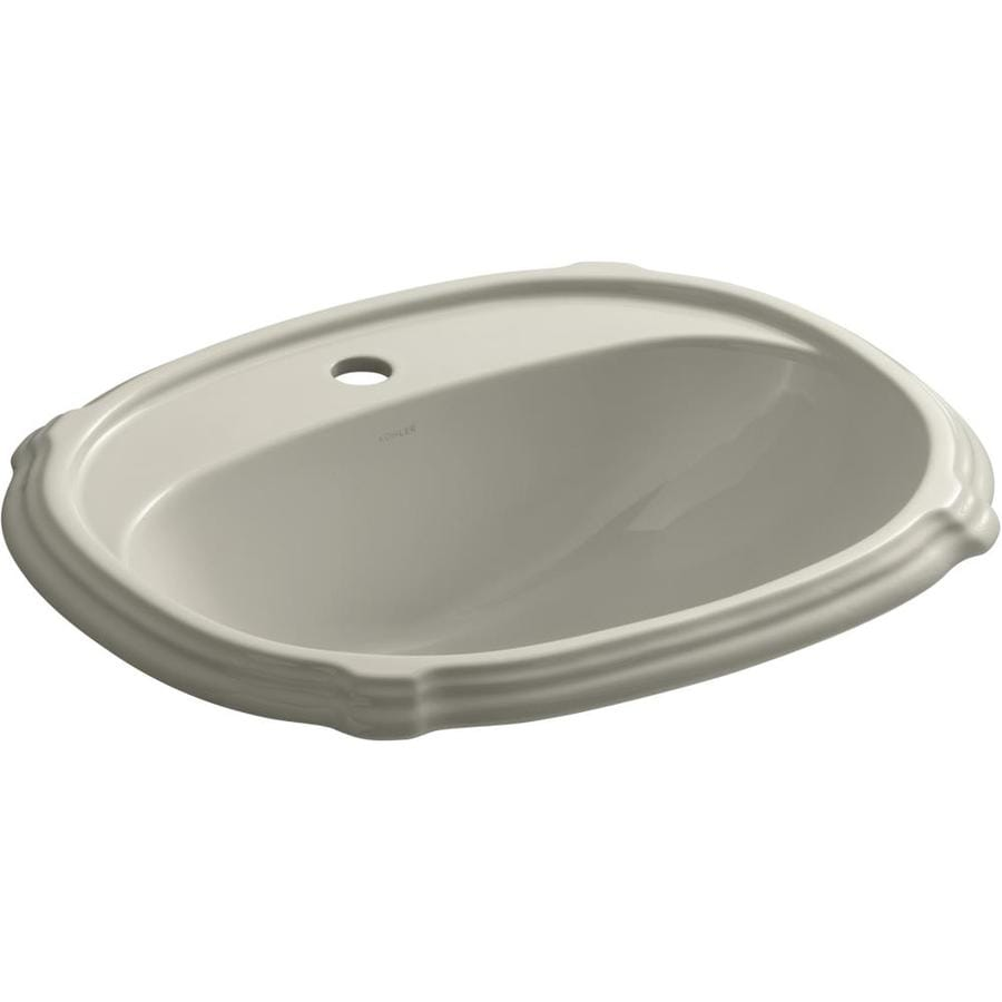 Shop KOHLER Portrait Sandbar Drop-in Oval Bathroom Sink ...