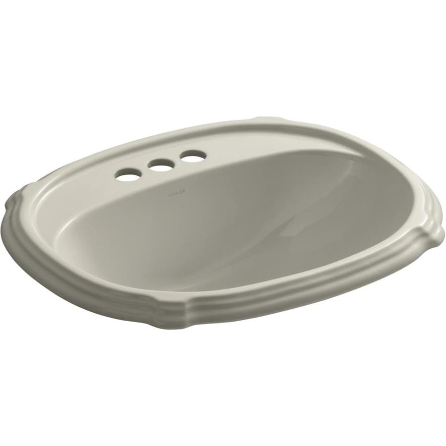KOHLER Portrait Sandbar Drop-in Oval Bathroom Sink with Overflow