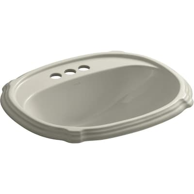 Superb Kohler Portrait Sandbar Drop In Oval Bathroom Sink With Home Interior And Landscaping Palasignezvosmurscom