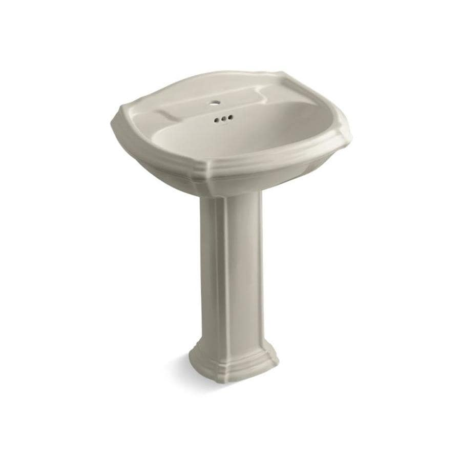 Shop KOHLER Portrait 36.5-in H Sandbar Vitreous China Pedestal Sink at ...