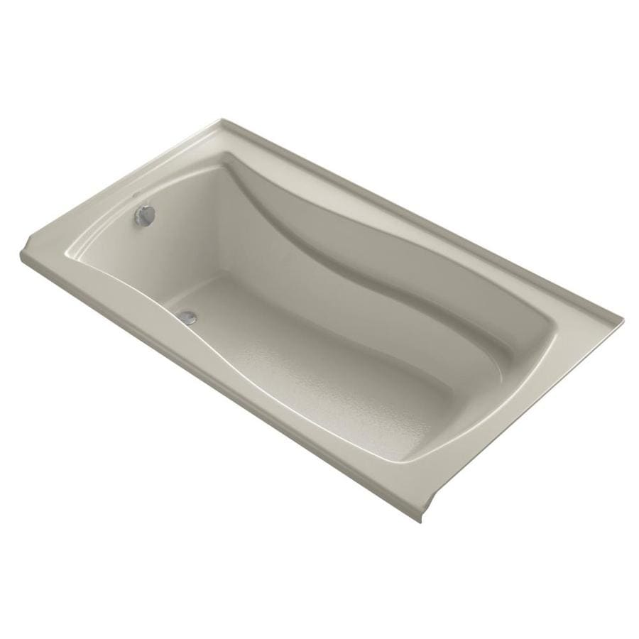 KOHLER Mariposa Sandbar Acrylic Hourglass In Rectangle Drop-in Bathtub with Reversible Drain (Common: 36-in x 66-in; Actual: 20-in x 36-in x 66-in)