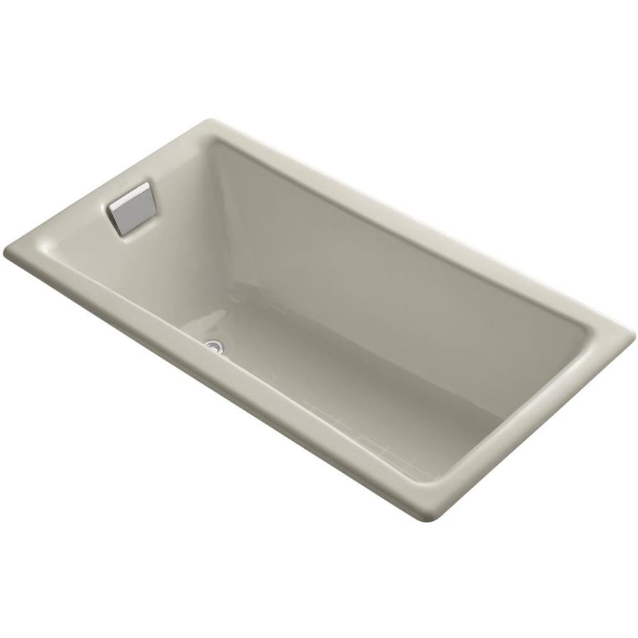 kohler tea for two sandbar cast iron rectangular drop in bathtub with