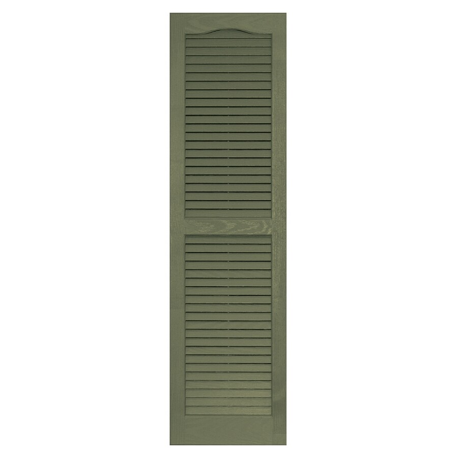 Vantage 2-Pack Colonial Green Louvered Vinyl Exterior Shutters (Common: 51-in x 14-in; Actual: 50.625-in x 13.875-in)