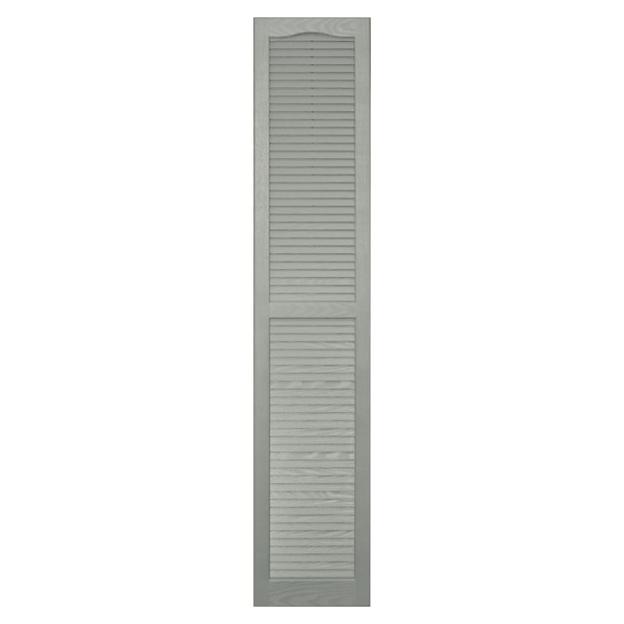 Shop Vantage 2 Pack Sage Louvered Vinyl Exterior Shutters Common 14 In X 75 In Actual