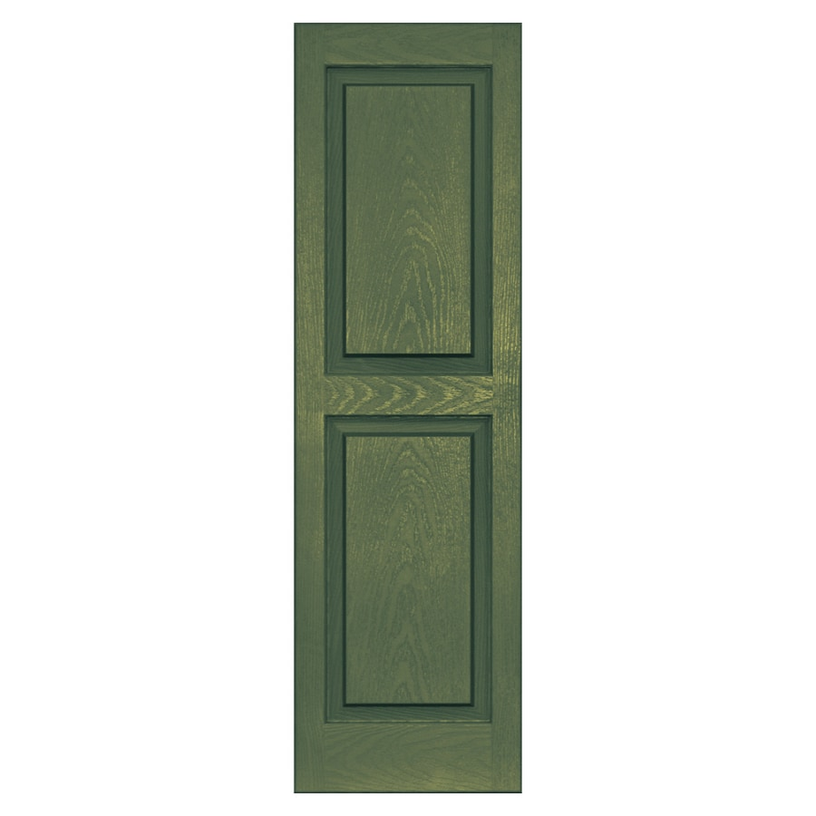 Vantage 2-Pack Moss Raised Panel Vinyl Exterior Shutters (Common: 47-in x 14-in; Actual: 46.625-in x 13.875-in)
