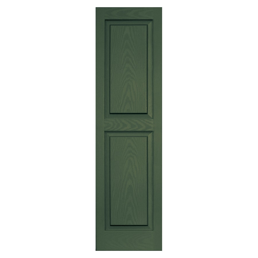 Vantage 2-Pack Moss Raised Panel Vinyl Exterior Shutters (Common: 51-in x 14-in; Actual: 50.625-in x 13.875-in)