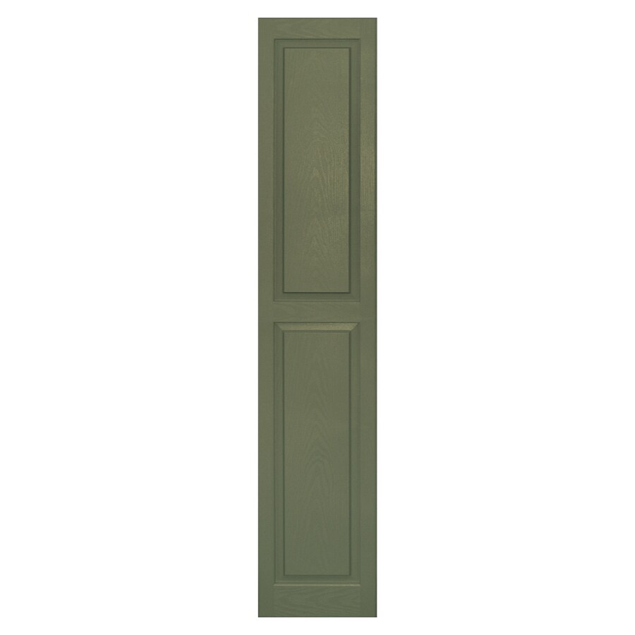 Vantage 2-Pack Colonial Green Raised Panel Vinyl Exterior Shutters (Common: 75-in x 14-in; Actual: 74.56-in x 13.875-in)