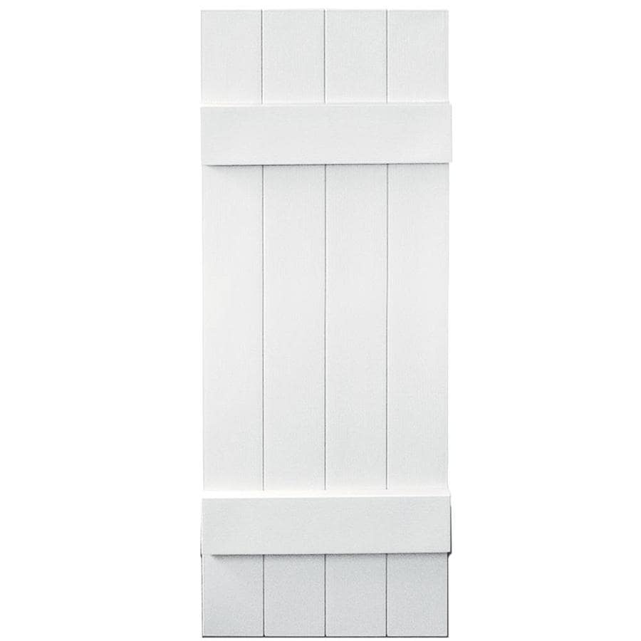 Vantage 2-Pack White Board and Batten Vinyl Exterior Shutters (Common: 14-in x 39-in; Actual: 13.875-in x 38.875-in)