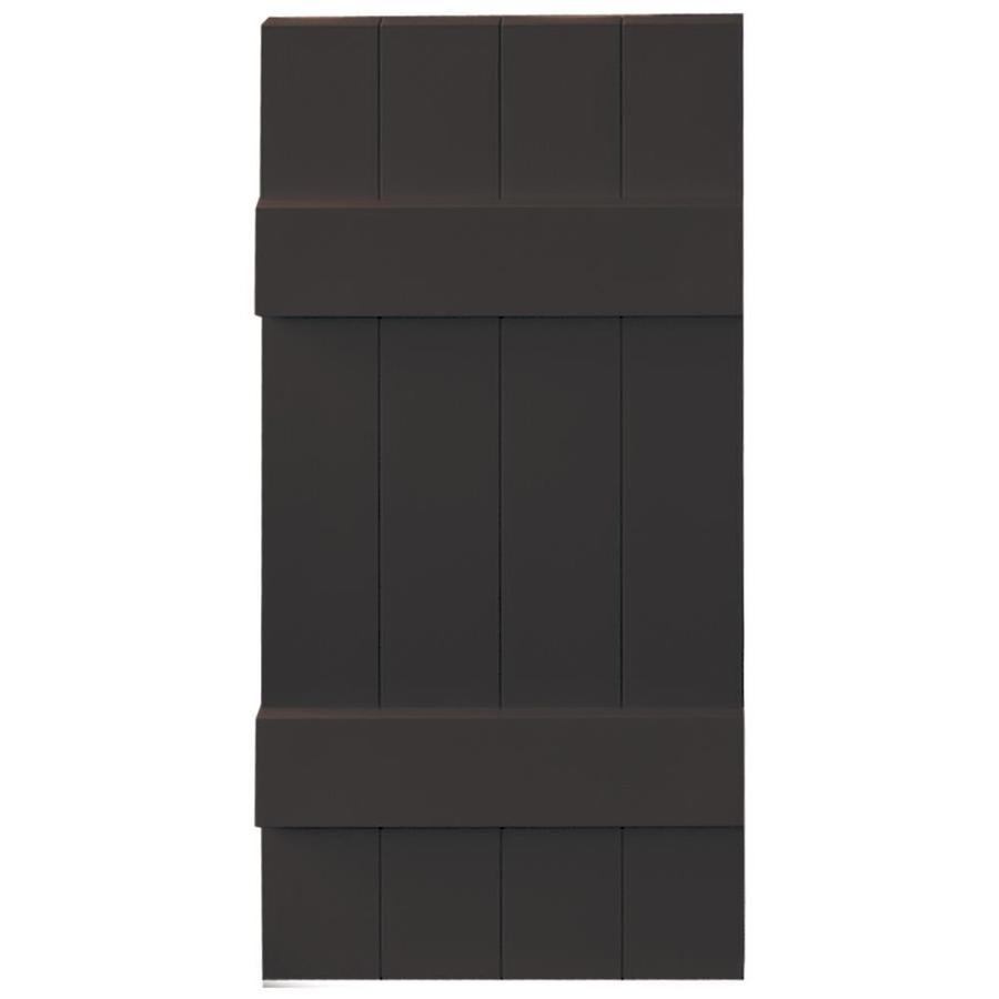 Vantage 2-Pack Chocolate Brown Board and Batten Vinyl Exterior Shutters (Common: 14-in x 31-in; Actual: 13.875-in x 30.875-in)