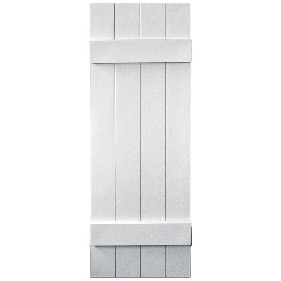 Vantage 2-Pack White Board and Batten Vinyl Exterior Shutters (Common: 14-in x 43-in; Actual: 13.875-in x 42.875-in)