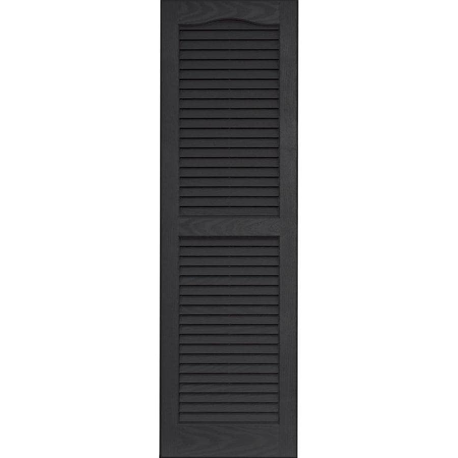 Vantage 2-Pack Black Louvered Vinyl Exterior Shutters (Common: 14-in x 47-in; Actual: 13.875-in x 46.6875-in)