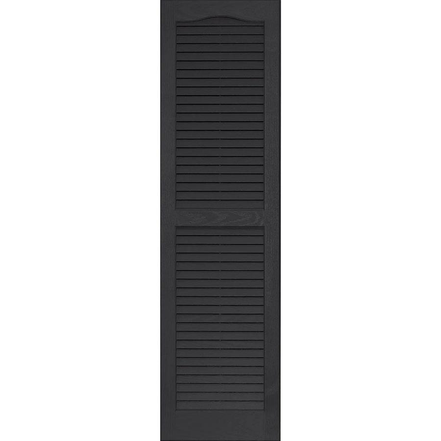 Vantage 2-Pack Black Louvered Vinyl Exterior Shutters (Common: 14-in x 51-in; Actual: 13.875-in x 50.625-in)