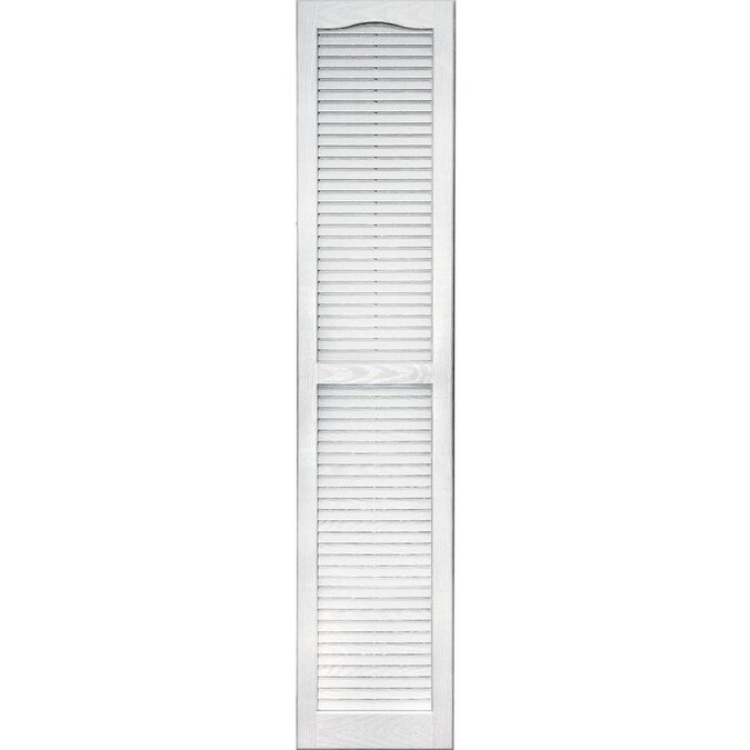 Vantage 2 Pack 13 875 In W X 66 625 In H White Louvered Vinyl Exterior Shutters In The Exterior Shutters Department At Lowes Com