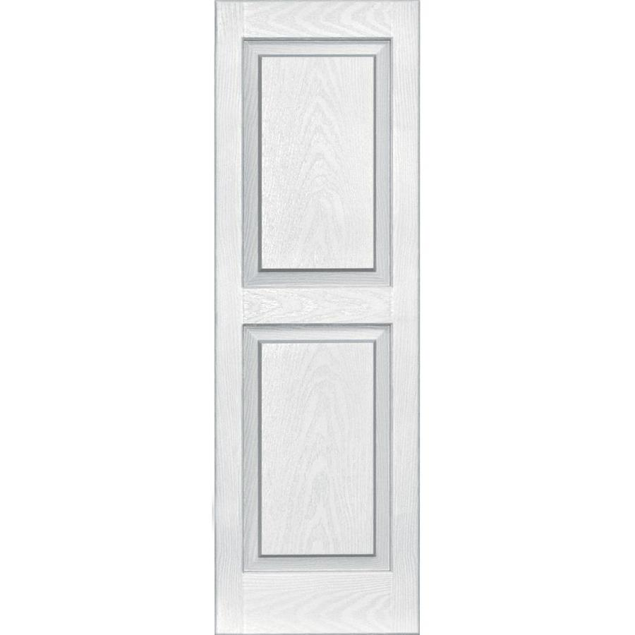 Vantage 2-Pack White Raised Panel Vinyl Exterior Shutters (Common: 14-in x 43-in; Actual: 13.875-in x 42.625-in)