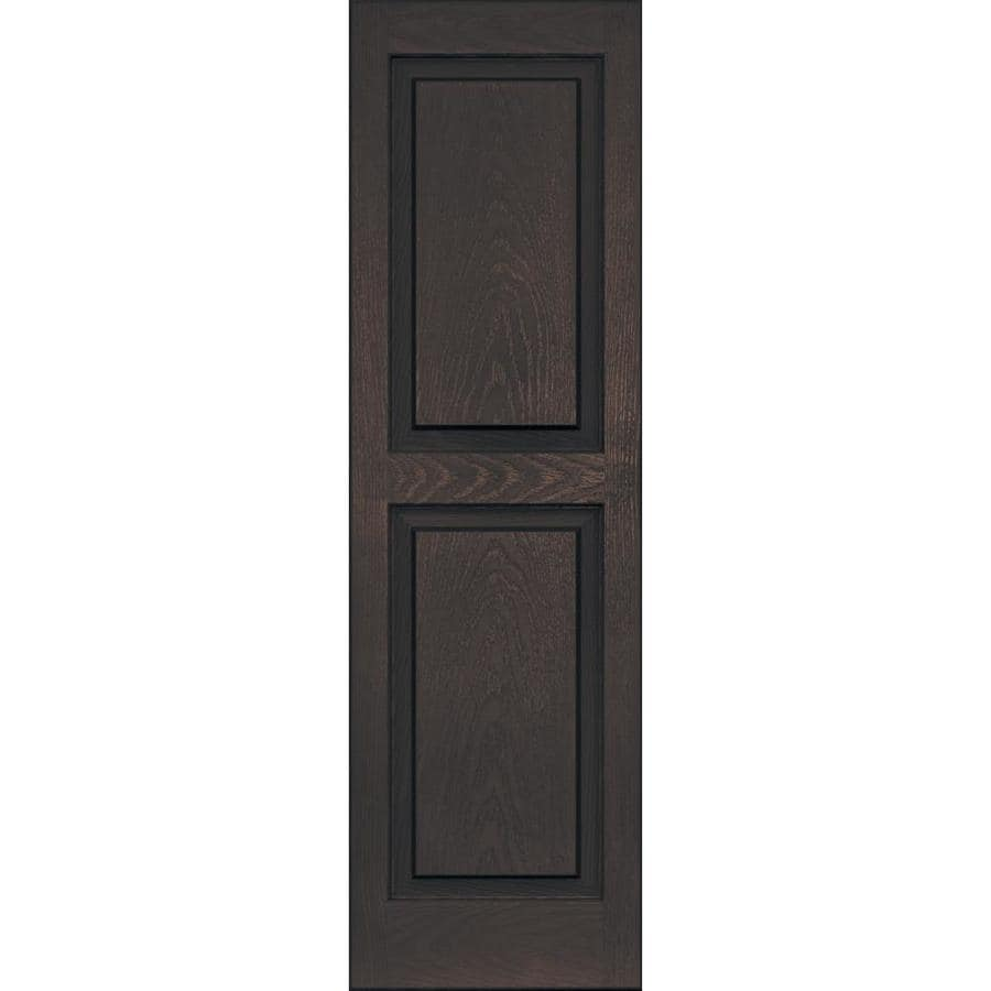 Vantage 2-Pack Chocolate Brown Raised Panel Vinyl Exterior Shutters (Common: 14-in x 47-in; Actual: 13.875-in x 46.625-in)