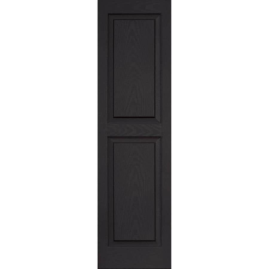 Vantage 2-Pack Black Raised Panel Vinyl Exterior Shutters (Common: 14-in x 51-in; Actual: 13.875-in x 50.625-in)