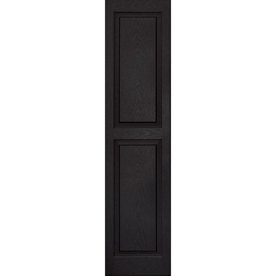 Vantage 2-Pack Black Raised Panel Vinyl Exterior Shutters (Common: 14-in x 59-in; Actual: 13.875-in x 58.5-in)