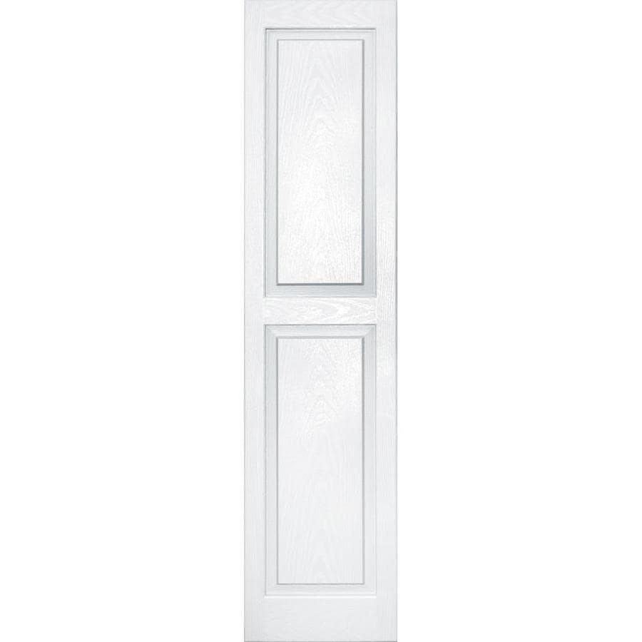 Vantage 2-Pack White Raised Panel Vinyl Exterior Shutters (Common: 14-in x 59-in; Actual: 13.875-in x 58.5-in)