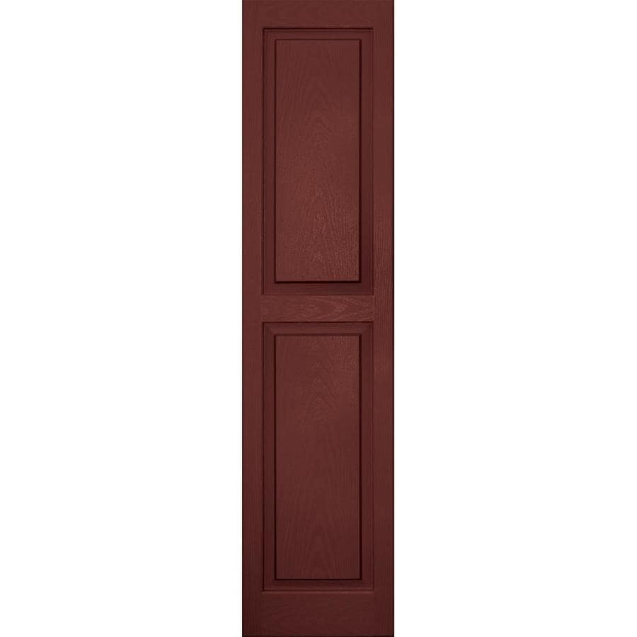 Vantage 2-Pack Cambridge Red Raised Panel Vinyl Exterior Shutters (Common: 14-in x 59-in; Actual: 13.875-in x 58.5-in)