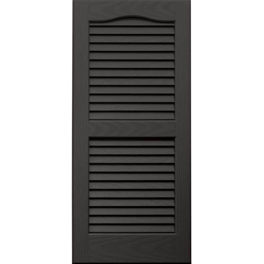Vantage 2-Pack Charcoal Grey Louvered Vinyl Exterior Shutters (Common: 14-in x 31-in; Actual: 13.875-in x 30.6875-in)