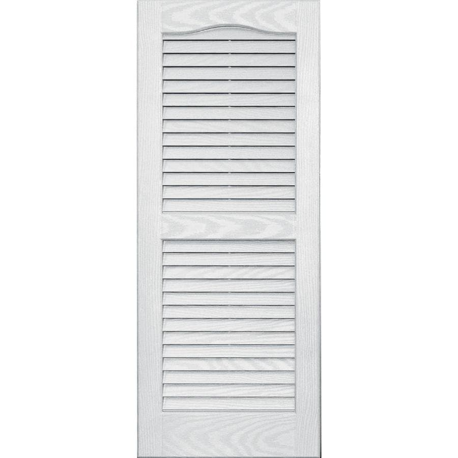 Vantage 2-Pack White Louvered Vinyl Exterior Shutters (Common: 14-in x 35-in; Actual: 13.875-in x 34.6875-in)