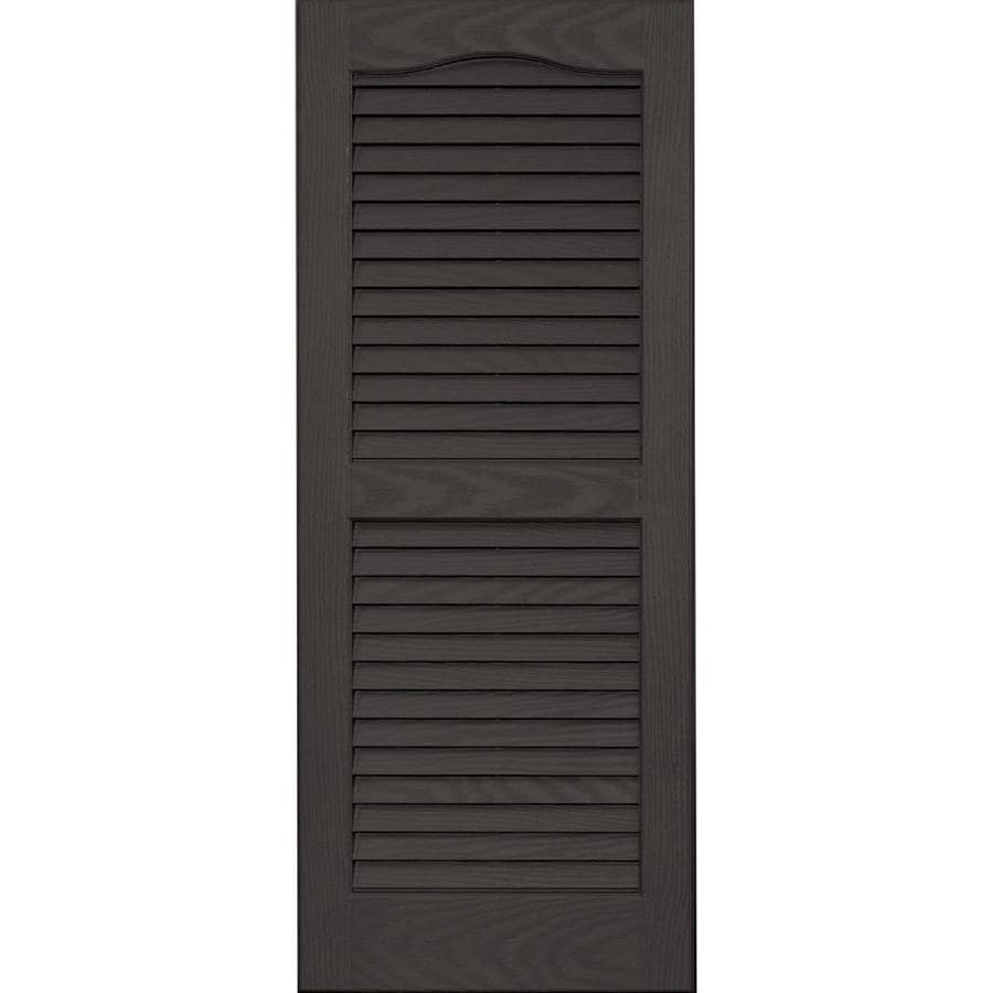Vantage 2-Pack Charcoal Grey Louvered Vinyl Exterior Shutters (Common: 14-in x 35-in; Actual: 13.875-in x 34.6875-in)