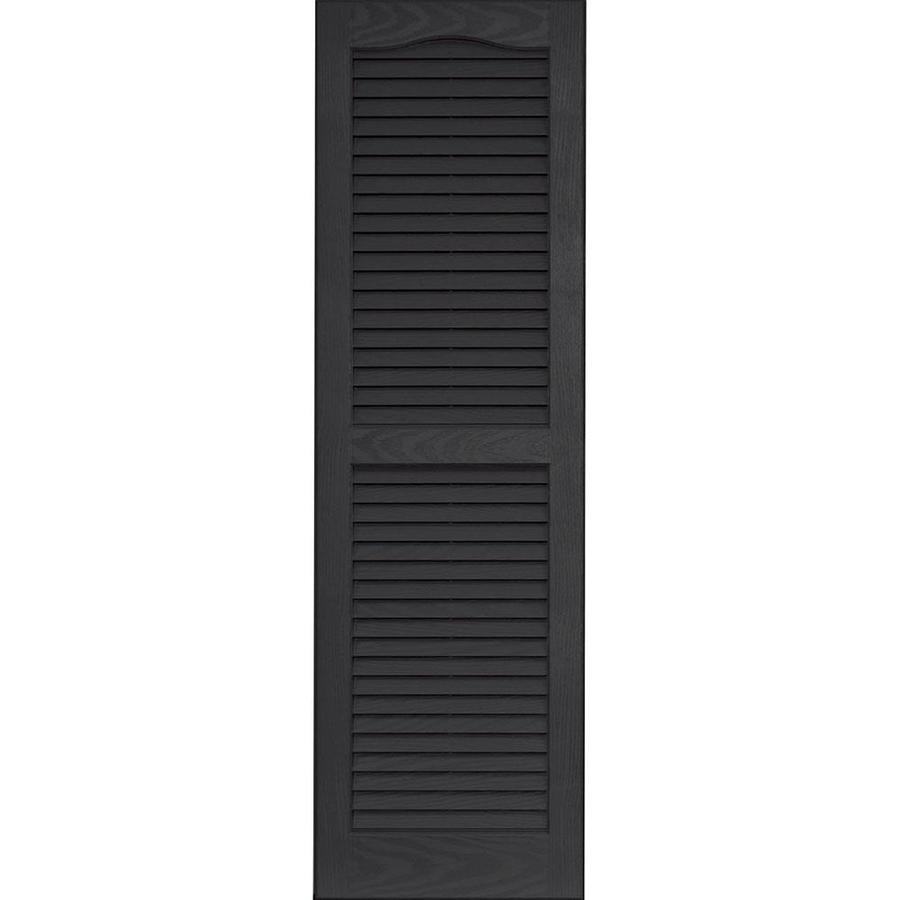 Vantage 2 Pack Black Louvered Vinyl Exterior Shutters (Common: 14 In X