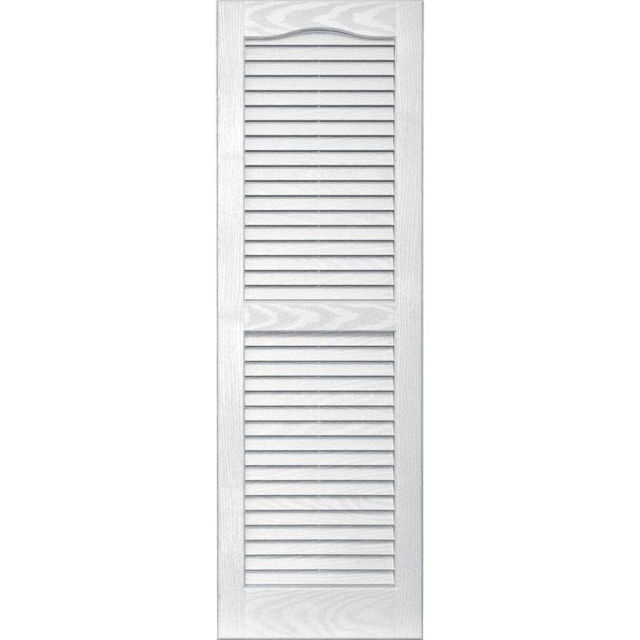 Shop Vantage 2 Pack White Louvered Vinyl Exterior Shutters Common 14 In X 43 In Actual 13