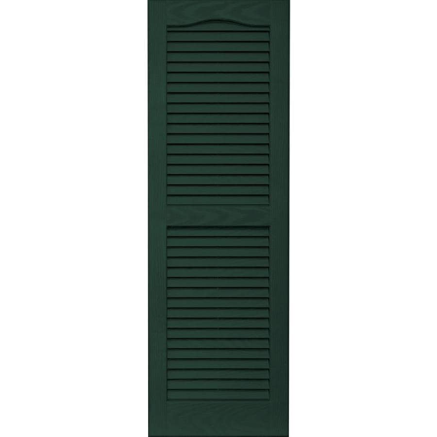 Shop Vantage 2 Pack Midnight Green Louvered Vinyl Exterior Shutters Common 14 In X 43 In