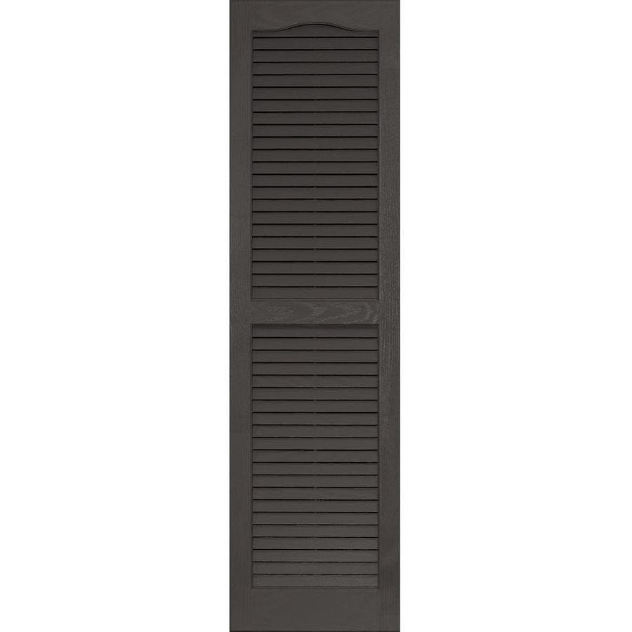 Vantage 2-Pack Charcoal Grey Louvered Vinyl Exterior Shutters (Common: 14-in x 51-in; Actual: 13.875-in x 50.625-in)