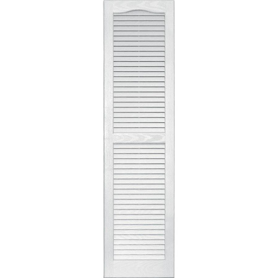 Vantage 2 Pack White Louvered Vinyl Exterior Shutters (Common: 14 In X
