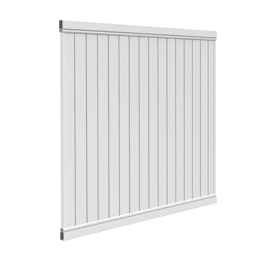 Barrette Select White Flat-Top Privacy Vinyl Fence Panel (Common: 72-in x 6-ft; Actual: 70-in x 5.64-ft)