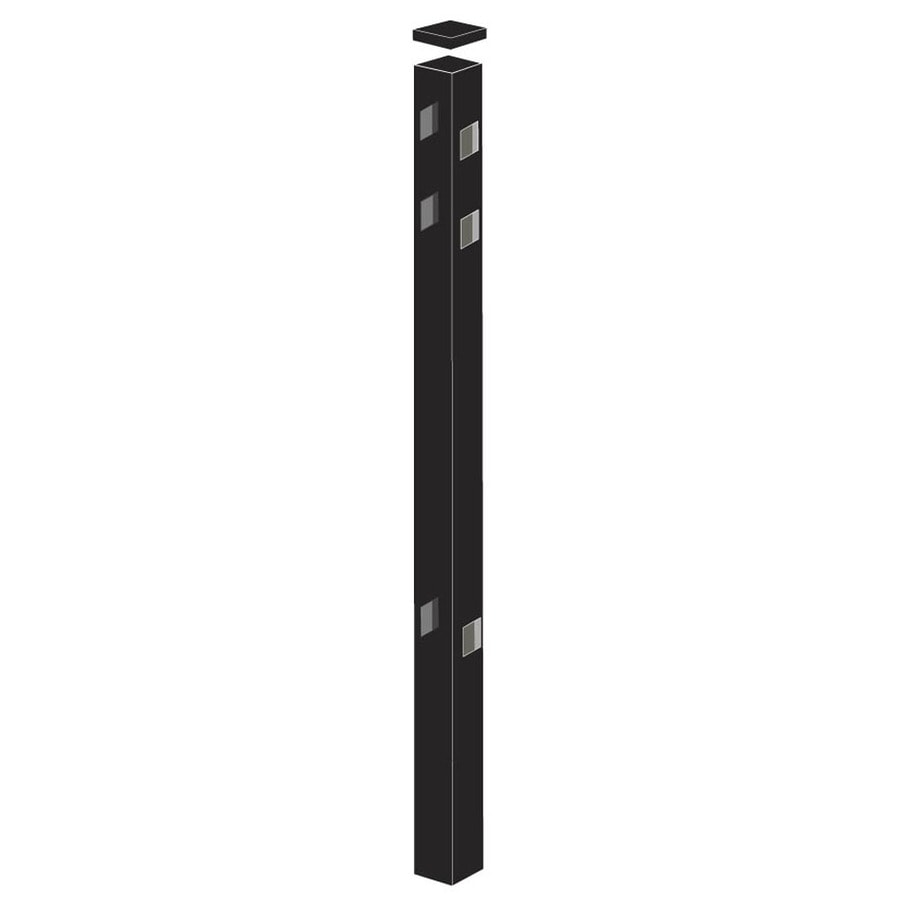 Freedom Standard Black Aluminum Aluminum Fence Line Post (Common: 2-in x 2-in x 6-ft; Actual: 2-in x 2-in x 5.83-ft)