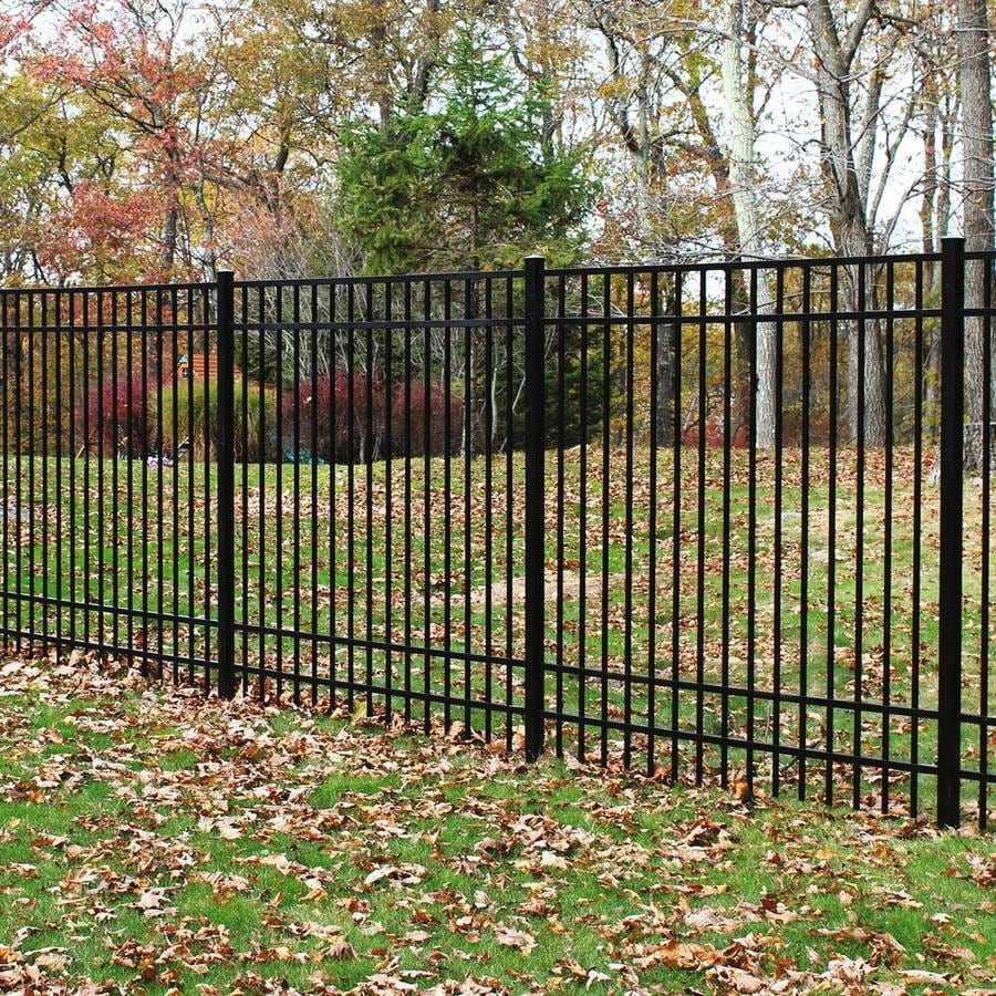 Freedom (Actual: 5.91-ft x 6.026-ft) Standard New Haven Black Aluminum Decorative Fence Panel
