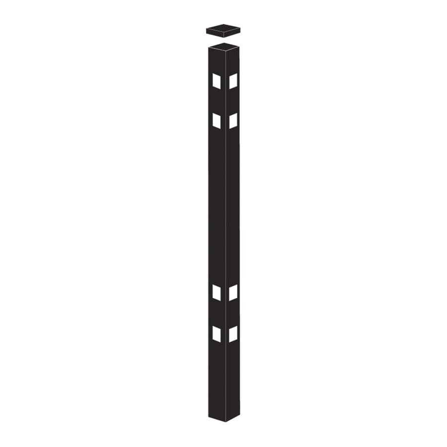 Freedom Standard Black Aluminum Aluminum Fence Corner Post (Common: 2-in x 2-in x 9-ft; Actual: 2-in x 2-in x 8.83-ft)