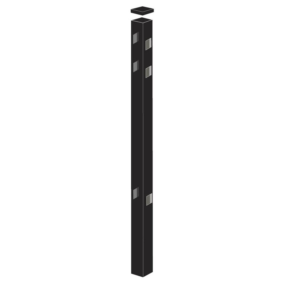 Freedom (Common: 2-1/2-in x 2-1/2-in x 7-1/2-ft; Actual: 2.5-in x 2.5-in x 7.33-ft) Heavy-Duty Black Aluminum Line Post