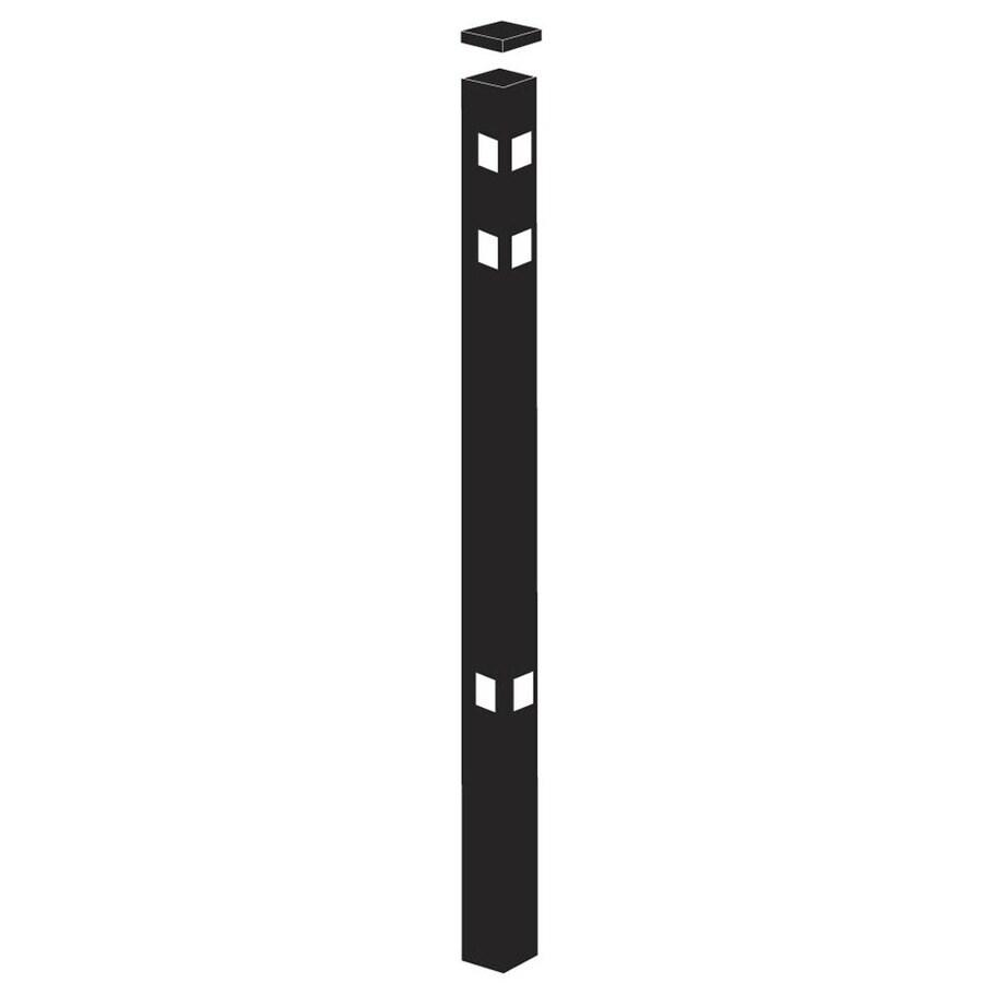 Freedom Heavy-Duty Black Aluminum Aluminum Fence Corner Post (Common: 2-1/2-in x 2-1/2-in x 7-1/2-ft; Actual: 2.5-in x 2.5-in x 7.33-ft)