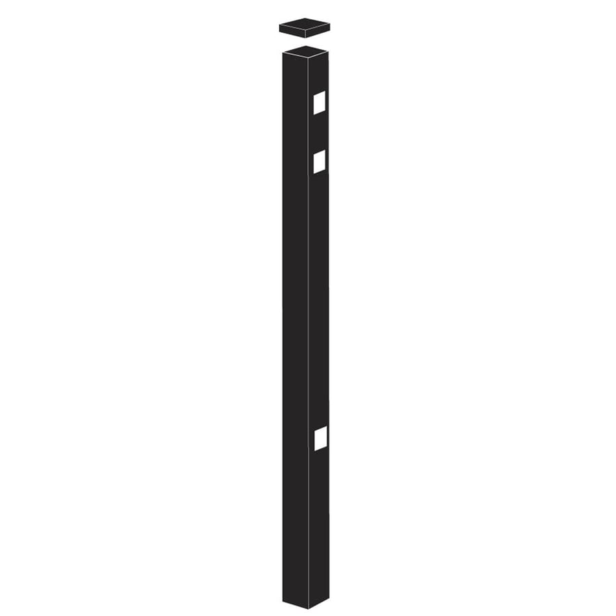 Freedom (Common: 2-1/2-in x 2-1/2-in x 7-1/2-ft; Actual: 2.5-in x 2.5-in x 7.33-ft) Heavy-Duty Black Aluminum End Post