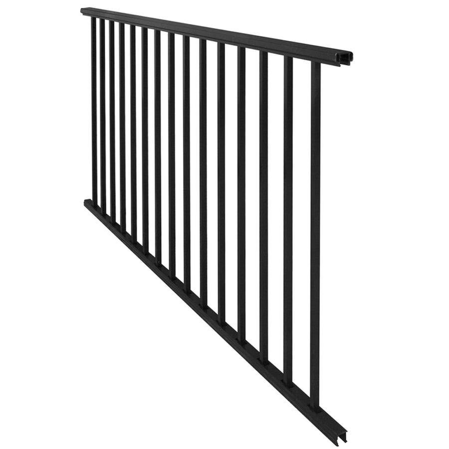 Freedom Somerset 70.75-in x 33-in Black Aluminum Porch Railing